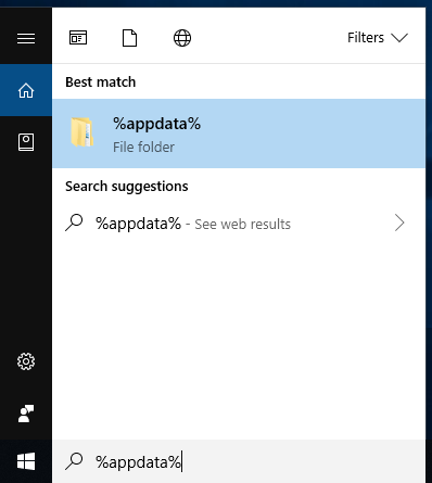 Windows start menu with %APPDATA% typed in